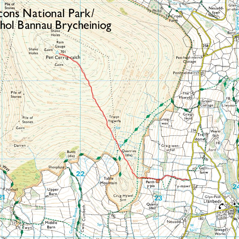 Pen Cerrig-calch Race Map