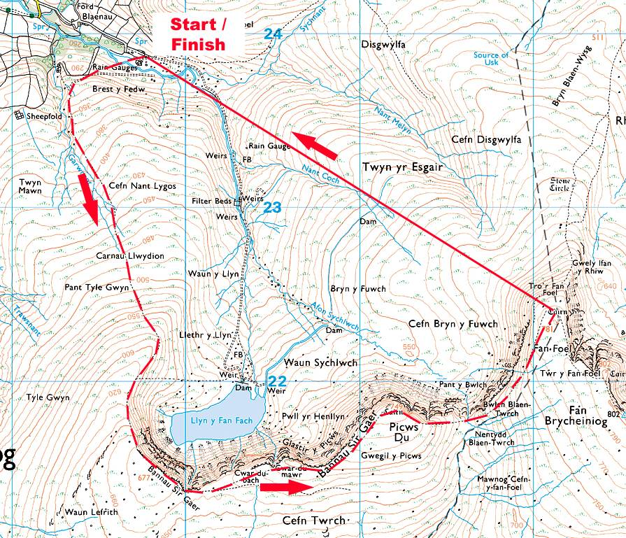 Llyn y Fan Race Map