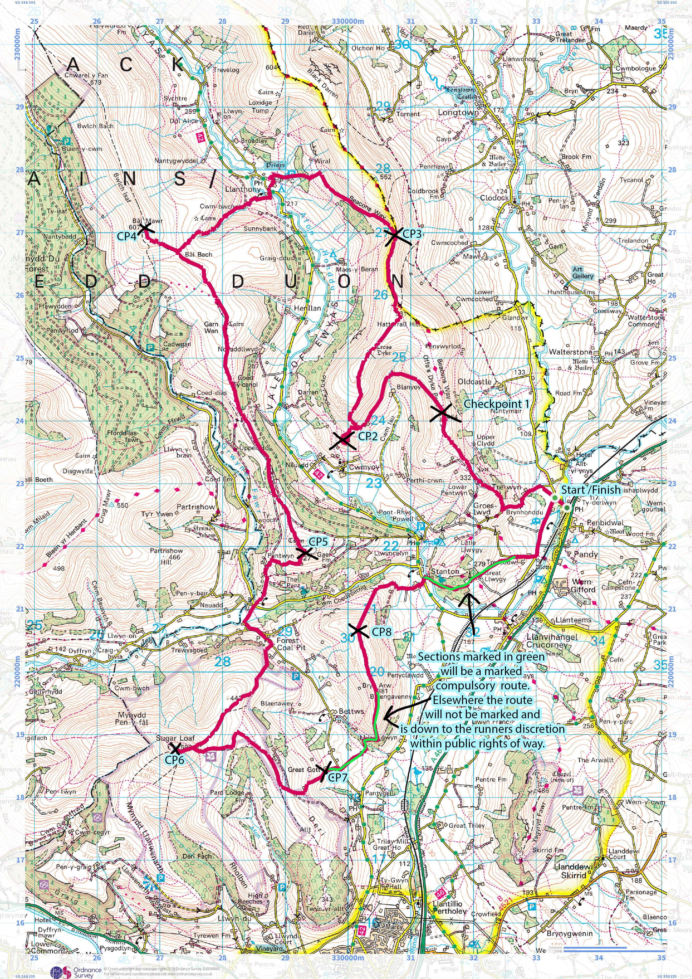 Vale of Ewyas Fell Race map