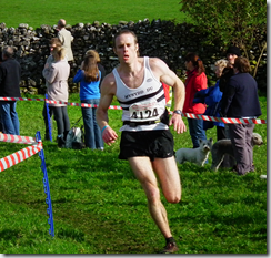 Harry Matthews finishing the race for the A team
